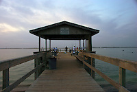 View Of Fishing Pier in Sanibel Island Florida. This pier is located near famous Lighthouse Point.