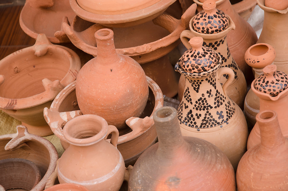 Clay jars and bowls on display in Marrakech Morocco
