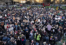 © Licensed to London News Pictures. 15/03/2021. London, UK. Protesters gather in Parliament Square as anger continues over the policing of Saturday's Sarah Everard vigil at Clapham Common in south London. Photo credit: Peter Macdiarmid/LNP