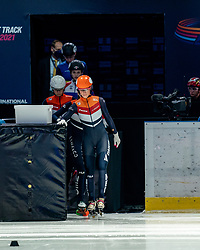Suzanne Schulting of Netherlands in action on 1500 meter during ISU World Short Track speed skating Championships on March 05, 2021 in Dordrecht