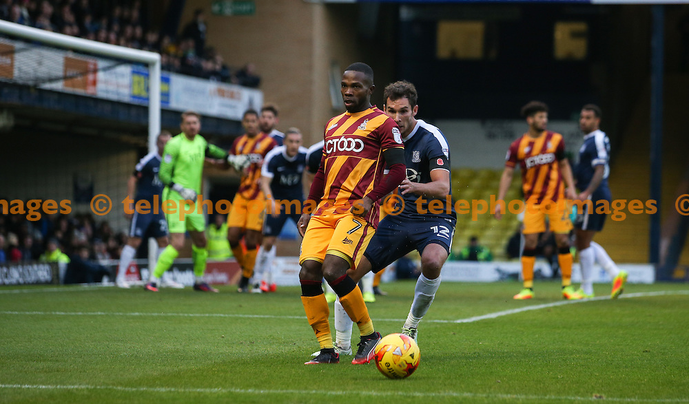 Mark Marshall of Bradford City holds up the ball during the Sky Bet League 1 match between Southend United and Bradford City at Roots Hall in Southend. November 19, 2016.<br /> Arron Gent / Telephoto Images<br /> +44 7967 642437