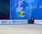 Olsson Elsie Josefin during qualifying at ribbon in Pesaro World Cup at Adriatic Arena on 11 April 2015. Josefin was born on March 4, 1998 in Landskrona. She is an Swedish individual rhythmic gymnast.