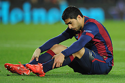 Barcelona's Luis Suarez cuts a dejected figure - Photo mandatory by-line: Dougie Allward/JMP - Mobile: 07966 386802 - 18/03/2015 - SPORT - Football - Barcelona - Nou Camp - Barcelona v Manchester City - UEFA Champions League - Round 16 - Second Leg