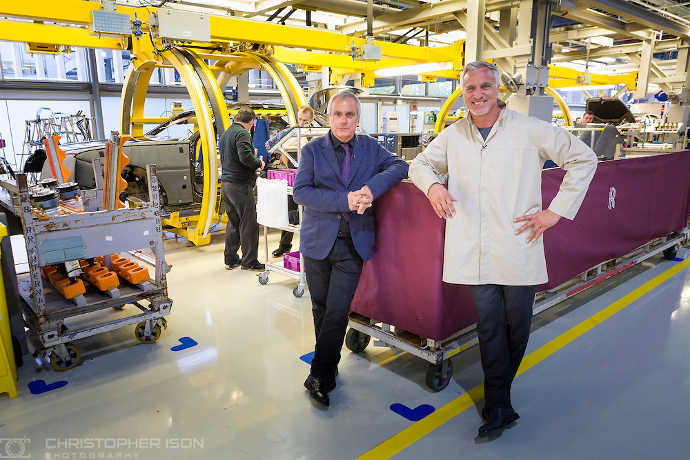 Former footballer David Ginola and television presenter Dominique Chapatte filming at Rolls-Royce Motor Cars near Chichester, West Sussex for Turbo, the long running French television car show on channel M6. <br /> Picture date: Tuesday November 8, 2016.<br /> Photograph by Christopher Ison ©<br /> 07544044177<br /> chris@christopherison.com<br /> www.christopherison.com