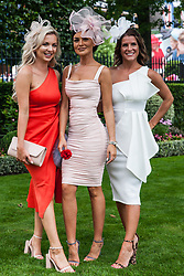 Ascot, UK. 20 June, 2019. Racegoers wearing fascinators attend Ladies Day at Royal Ascot.