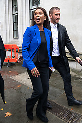 © Licensed to London News Pictures. 24/09/2019. London, UK. Anti-Brexit campaigner and businesswoman Gina Miller  (centre, in blue) leaves the Supreme Court after the Court made a historic ruling that Boris Johnson's decision to suspend Parliament for five weeks was unlawful. Photo credit : Tom Nicholson/LNP