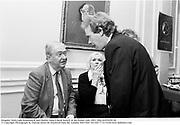 Kingsley Amis,Lady Kilmarnock and Martin Amis.A book launch at the Polish club 1991. film no91645f 20 © Copyright Photograph by Dafydd Jones 66 Stockwell Park Rd. London SW9 0DA Tel 020 7733 0108 www.dafjones.com