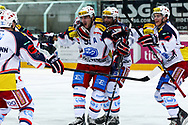 15.03.2011, Rapperswil-Jona, Eishockey NLA Playout, Rapperswil-Jona Lakers - HC Ambri-Piotta, Gregory Hofmann (r), Roman Botta (m), Julian Walker (m) und Reto Stirnimann (l, AMB) jubeln  (Thomas Oswald/hockeypics)