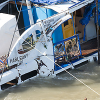 Passenger boat is being lifted up from the river after it's capsize in an accident on river Danube in downtown Budapest, Hungary on June 11, 2019. ATTILA VOLGYI