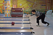 Yekaterinburg, Russia, 2/04/2006..Sunday night bowling at the Antey Centre.