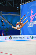 Nazarenkova Elizaveta of Uzbekistan competes during the Rhythmic Gymnastics Individual clubs qulification of the World Cup at Adriatic Arena on April 2, 2016 in Pesaro, Italy. She  is a individual rhythmic gymnast of Russian origin born in  Murmansk in 1995.
