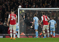 Football - 2019 /2020 FA Cup - Third Round: Arsenal vs. Leeds United.<br /> <br /> Paint flies off the crossbar ad Alexandre Lacazette (Arsenal FC) goes close with a free kick at the Emirates Stadium<br /> <br /> COLORSPORT/DANIEL BEARHAM