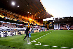 The corner flags at Molineux are disinfected as part of Premier League Covid-19 protocols- Mandatory by-line: Robbie Stephenson/JMP - 20/07/2020 - FOOTBALL - Molineux - Wolverhampton, England - Wolverhampton Wanderers v Crystal Palace - Premier League