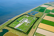 Nederland, Groningen, Gemeente Eemsmond, 05-08-2014;  Emmapolder met  Gasbehandelingsstation. De Noordgas-transportleiding komt hier aan land.<br /> Emmapolder with gas treatment site were the Noordgas-transport pipeline comes ashore.<br /> luchtfoto (toeslag op standard tarieven);<br /> aerial photo (additional fee required);<br /> copyright foto/photo Siebe Swar