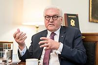 02 JUL 2018, BERLIN/GERMANY:<br /> Frank-Walter Steinmeier, Bundespraesident, waehrend einem Interview, Amtszimmer des Bundespraesidenten, Schloss Bellevue<br /> IMAGE: 20180702-01-007<br /> KEYWORDS: Bundespräsident