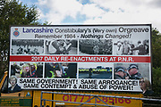 A sign put up by anti-fracking activists in New Preston Road, July 01 2017, Lancashire, United Kingdom. The sign is referencing a past conflict at Orgreave and compare that strugle with todays conflict. Lancashire voted against permitting fracking but was over ruled by the conservative central Government.  Fracking is a highly contested way of extracting gas, it is risky to extract and damaging to the environment and is banned in parts of Europe . Lancashire has in the past experienced earth quakes blamed on fracking.