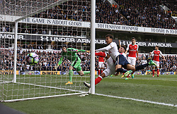 30 April 2017 London : Premier League Football : Tottenham Hotspur v Arsenal :<br /> Dele Alli narrowly fails to score for Tottenham.<br /> Photo: Mark Leech