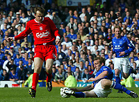 Photo Aidan Ellis.<br />Everton v Liverpool (FA Barclaycard Premiership)<br />19/04/2003.<br />Liverpool's Dietmar Hamann and Everton's Alan Stubbs