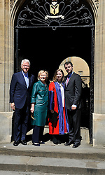 © London News Pictures. 10/05/2014. Oxford, UK. L TO R Former US President Bill Clinton,  his wife, former United States Secretary of State, Hillary Clinton, Chelsea Clinton and  Marc Mezvinsky, husband of Chelsea Clinton, at Radcliffe Square in Oxford where Chelsea Clinton graduated today (Sat) receiving a doctorate degree in international relations from Oxford University. Photo credit: Mark Hemsworth/LNP