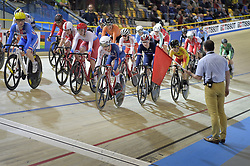 March 2, 2018 - Apeldoorn, NETHERLANDS - Illustration picture shows the neutralization of the women's Omnium Scratch after a bad crash during the omnium women event at the 2018 world championships track cycling in Apeldoorn, the Netherlands, Friday 02 March 2018. The track cycling worlds take place from 28 February to 04 March. BELGA PHOTO YORICK JANSENS (Credit Image: © Yorick Jansens/Belga via ZUMA Press)