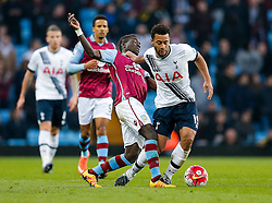 Mousa Dembele of Tottenham Hotspur is challenged by Idrissa Gueye of Aston Villa - Mandatory byline: Rogan Thomson/JMP - 13/03/2016 - FOOTBALL - Villa Park Stadium - Birmingham, England - Aston Villa v Tottenham Hotspur - Barclays Premier League.