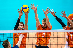 Wessel Keemink of Netherlands, Luuc van der Ent of Netherlands in action during the CEV Eurovolley 2021 Qualifiers between Sweden and Netherlands at Topsporthall Omnisport on May 14, 2021 in Apeldoorn, Netherlands