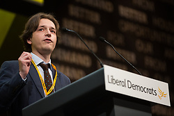 Bournemouth, UK. 15 September, 2019. Cllr Niall Hodson of Sunderland City Council speaks on the Stop Brexit motion during the Liberal Democrat Autumn Conference. Following a vote won by an overwhelming majority, the Liberal Democrats pledged to cancel Brexit if they win power at the next general election. This marks a shift in policy from their previous backing for a People's Vote. Credit: Mark Kerrison/Alamy Live News