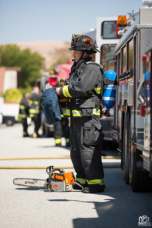Milpitas Fire Department responds to a shed on fire at 473 Donahe Pl., Milpitas, Calif., on June 19, 2012. The cause of the fire is undetermined and no injuries were reported. Photo by Stan Olszewski/SOSKIphoto.