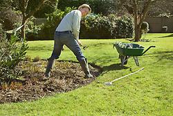 Gardener Working in Sunny Garden