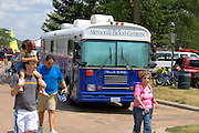 Memorial Blood Centers bus parked by the Lake Calhoun Aquatennial festivities. Aquatennial Beach Bash Minneapolis Minnesota USA