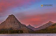 Sunrise light on Two Medicine Lake in Glacier National Park, Montana, USA