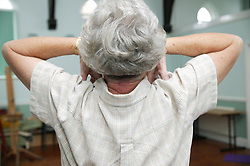 Woman at an over 60s yoga class; the Sybil Levin Centre; Age Concern; Nottingham,