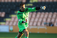 Jamie Stephens , the  Barnet  goalkeeper celebrates his teams first goal. Pre-season friendly match, Barnet v Swansea city at the Hive in London on Wednesday 12th July 2017.<br /> pic by Steffan Bowen, Andrew Orchard sports photography.