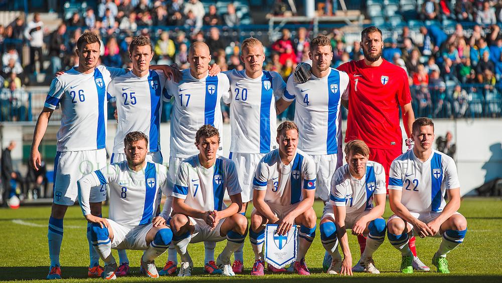 Suomen avauskokoonpano A-maaottelussa Suomi-Viro. Veritas stadion, Turku, Suomi. 9.6.2015.