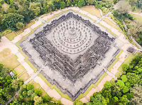 Aerial view of the world's largest buddhist temple Borobudur in Java, Indonesia.