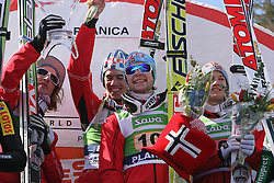Winners from Norvegian team:  Johan Remen Evensen, Anders Bardal, Anders Jacobsen and Tom Hilde at Flying Hill Team in 3rd day of 32nd World Cup Competition of FIS World Cup Ski Jumping Final in Planica, Slovenia, on March 21, 2009. (Photo by Vid Ponikvar / Sportida)