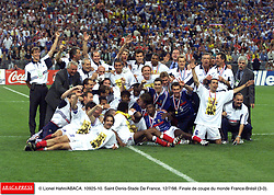©Lionel Hahn/ABACA.10925.10.Paris-France,12/07/ 1998. France made soccer history here on Sunday night, when the underdogs beat defending champions Brazil 3-0 to win the last World Cup this century before a delirious crowd of 80,000 people.