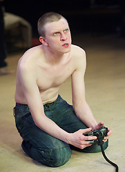 Yen<br /> by Anna Jordan <br /> at The Royal Court Theatre, London, Great Britain <br /> 22nd January 2016 <br /> Press Photocall <br /> <br /> <br /> Alex Austin as Hench <br /> <br /> <br /> Photograph by Elliott Franks <br /> Image licensed to Elliott Franks Photography Services