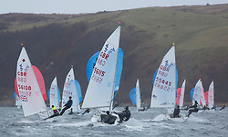 The annual RYA Youth National Championships is the UK's premier youth racing event. Day 3 with winds backing to the North the racing started on the Largs Channel.<br /> <br /> 420 fleet downwind with 56115, Dylan McPherson, Andrew Sturt, Burnham/Hollowell SC, 420 Boy <br /> <br /> Images: Marc Turner / RYA<br /> <br /> For further information contact:<br /> <br /> Richard Aspland, <br /> RYA Racing Communications Officer (on site)<br /> E: richard.aspland@rya.org.uk<br /> m: 07469 854599