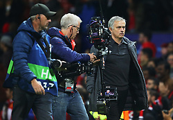 TV camera's film Manchester United manager Jose Mourinho at full time  - Mandatory by-line: Matt McNulty/JMP - 31/10/2017 - FOOTBALL - Old Trafford - Manchester, England - Manchester United v Benfica - UEFA Champions League Group A
