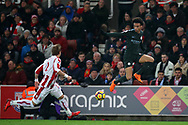 Leroy Sane of Manchester City (r) in action. Premier league match, Stoke City v Manchester City at the Bet365 Stadium in Stoke on Trent, Staffs on Monday 12th March 2018.<br /> pic by Andrew Orchard, Andrew Orchard sports photography.