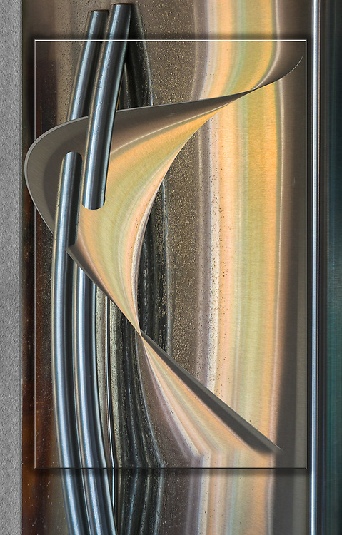 """""""Samsung Rings of Saturn"""", derivative image created from a photo of refrigerator door handles, autumn, December, private residence, Tacoma, Washinton, USA"""