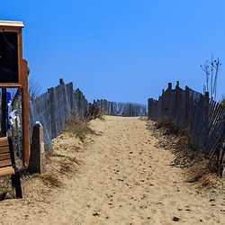 Bethany Beach, DE / USA - April 18, 2015: A walkway to the beach in Bethany, Delaware.