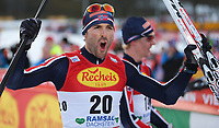 Kombinert<br /> FIS World Cup<br /> Foto: Gepa/Digitalsport<br /> NORWAY ONLY<br /> <br /> RAMSAU AM DACHSTEIN,AUSTRIA,19.DEC.15 - NORDIC SKIING, NORDIC COMBINED, CROSS COUNTRY SKIING - FIS World Cup, 10km Gundersen, men. Image shows the rejoicing of Magnus Moan (NOR).