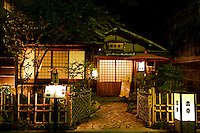 """Japanese Restaurant, Lanterns with illuminated lanterns known as """"chochin"""" in the backstreets of Asakusa or Old Tokyo."""