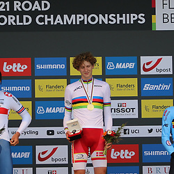 BRUGGE (BEL): CYCLING: SEPTEMBER 21th: <br /> Danish rider Gustav Wang is the new world junior time trial champion. 2nd Joshua Tarling and 3th Alec Sigaret
