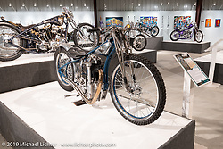 Samuele Reali's Abnormal Cycles' Skinny Oceanblu Franz Langher Tribute Speedway bike from Milan Italy in the What's the Skinny Exhibition (2019 iteration of the Motorcycles as Art annual series) at the Sturgis Buffalo Chip during the Sturgis Black Hills Motorcycle Rally. SD, USA. Friday, August 9, 2019. Photography ©2019 Michael Lichter.