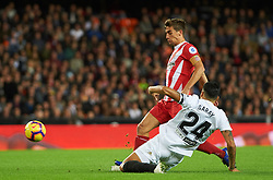 November 3, 2018 - Valencia, Valencia, Spain - Ezequiel Garay of Valencia CF and Pere Pons of Girona FC during the La Liga match between Valencia CF and Girona FC at Mestala Stadium on November 3, 2018 in Valencia, Spain (Credit Image: © AFP7 via ZUMA Wire)