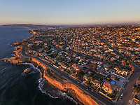 Aerial view of San Diego coastline at sunset, USA.