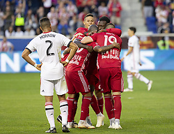 September 22, 2018 - Harrison, New Jersey, United States - New York Red Bulls players celebrate goal scored by Kaku (10) during regular MLS game against Toronto FC at Red Bull Arena Red Bulls won 2 - 0 (Credit Image: © Lev Radin/Pacific Press via ZUMA Wire)